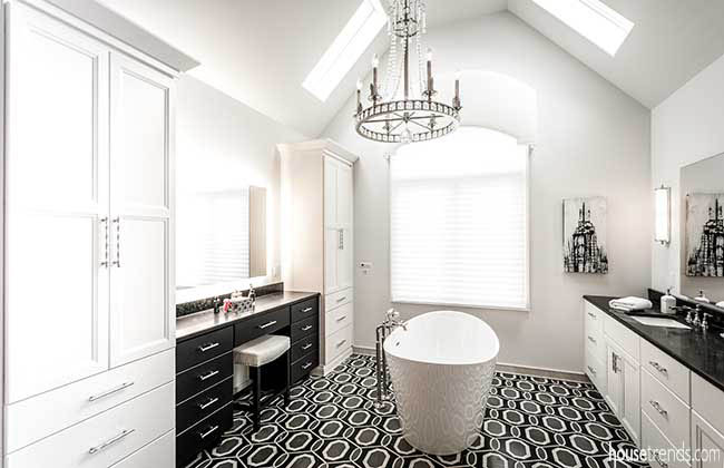 Tile flooring steals the show in a master bath