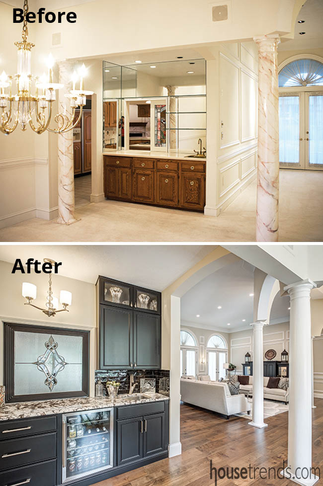 Wet bar remodel introduces black cabinetry