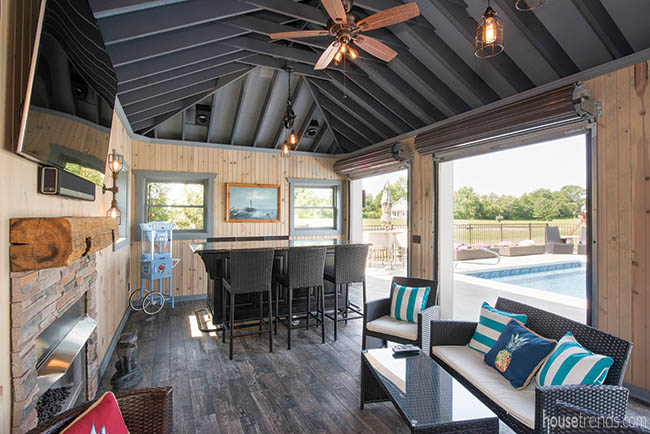 Roller doors can seal off a pool house