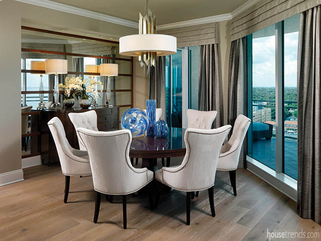 Pendant blends with a formal dining room