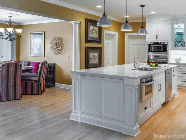 Kitchen remodel is a natural beauty - Kitchen island with sink and dishwasher and seating ...