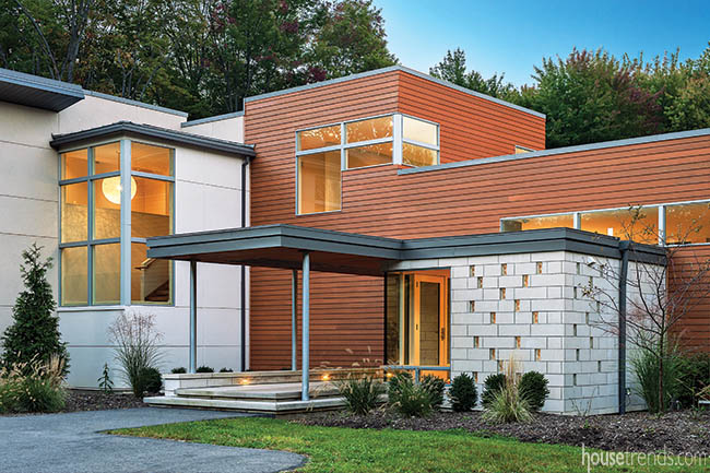 Covered front entry offers protection from the elements