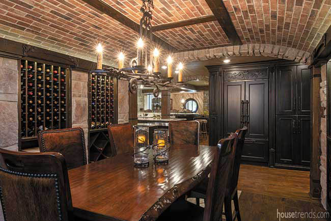Brick ceiling in a lower level wine room