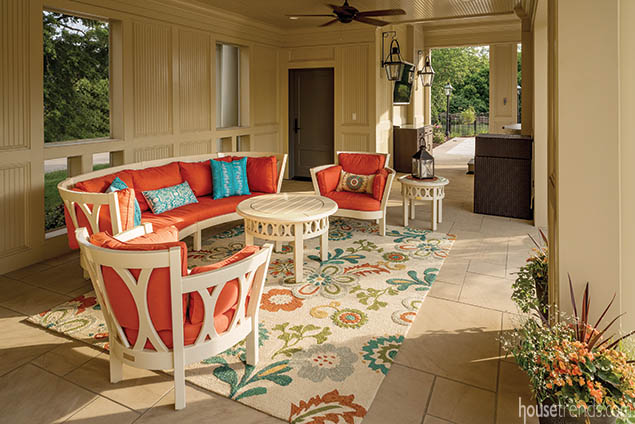 Colorful furniture brightens up an open-air lanai