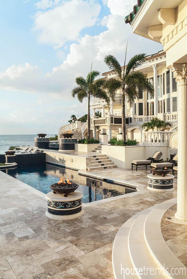 Palm trees balance out a back yard