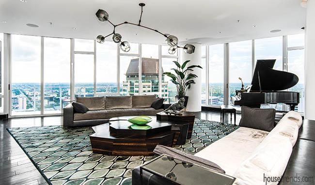 Modern light fixture in a living room