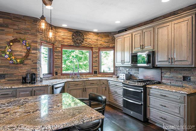Stone runs through a kitchen