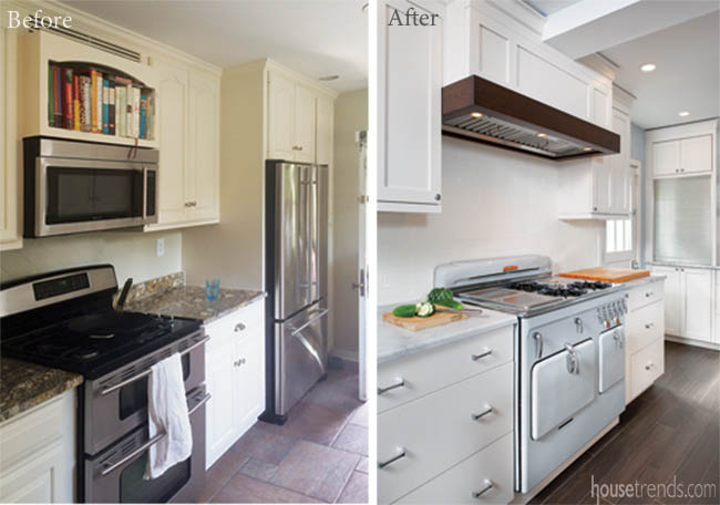Remodeled kitchen boasts a Chambers stove