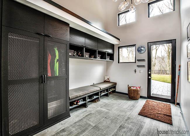 Trendy mudroom with plenty of storage options