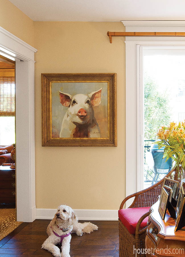 Painting adds a playful touch to a hearth room