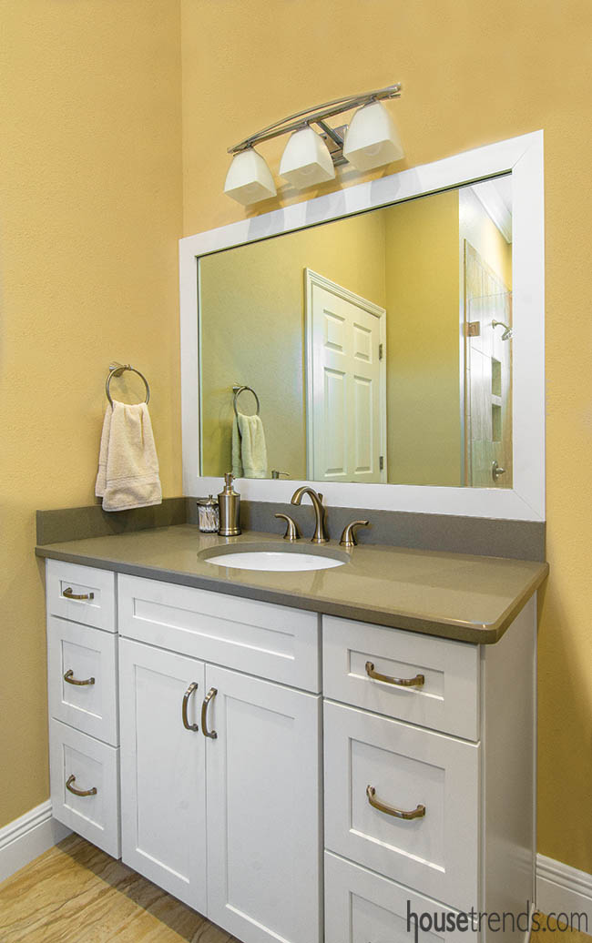 Guest bath with a white vanity