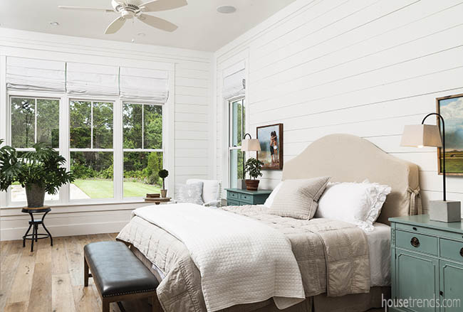 Shiplap walls in a master bedroom