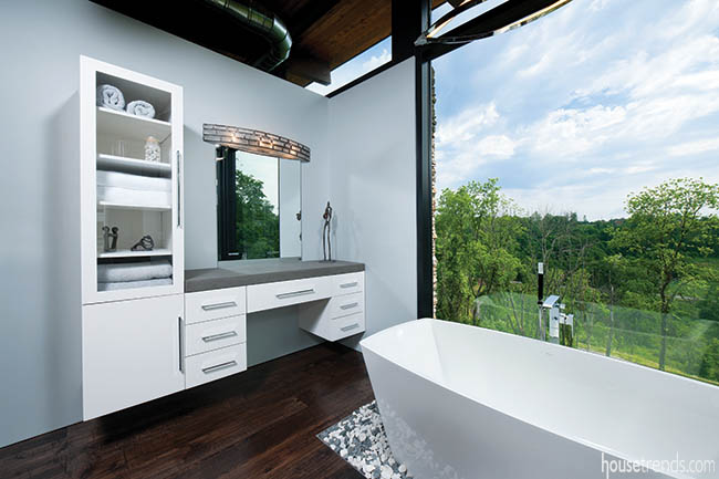 Expansive property allows for a large bathroom window