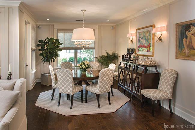 Octagonal area rug defines a dining area