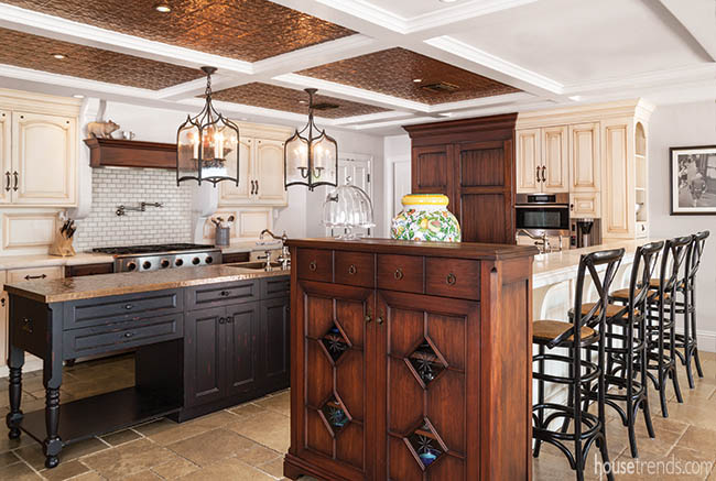 Armoire adds an elegant touch to a kitchen island