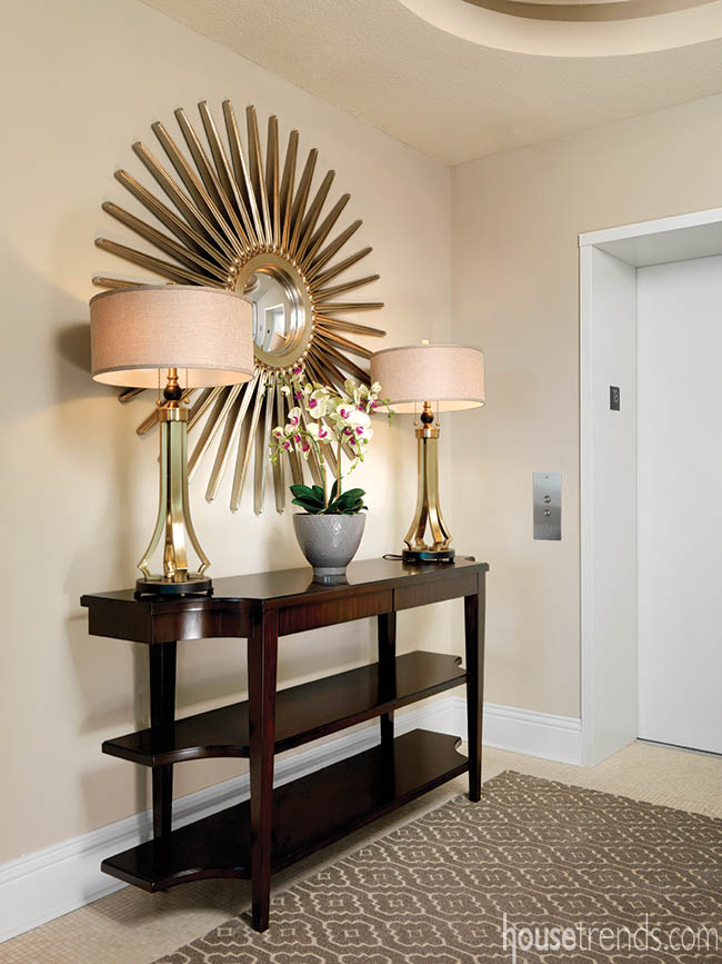 Starburst mirror adds excitement to entry hall