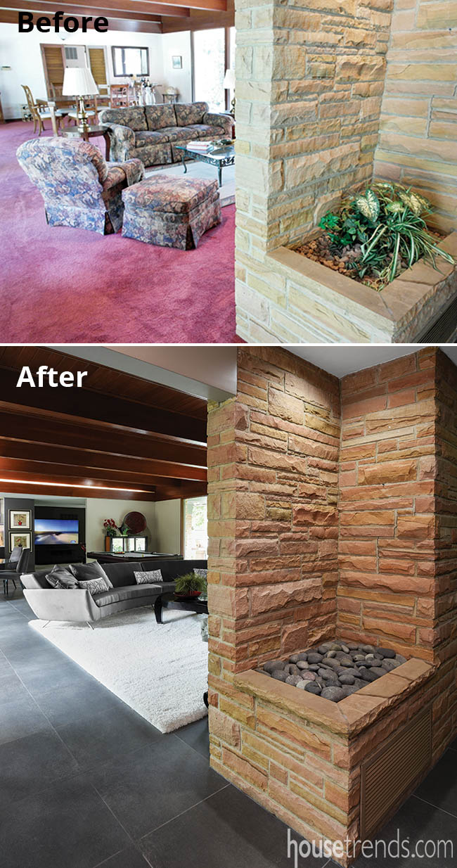 Stone wall in an entry hall