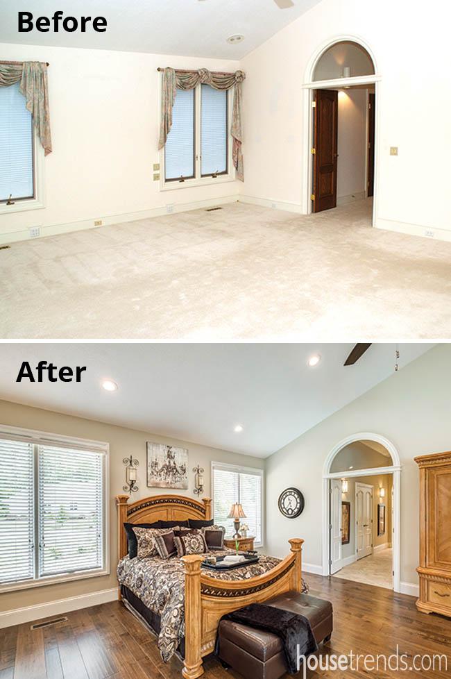 Hardwood flooring updates a master bedroom