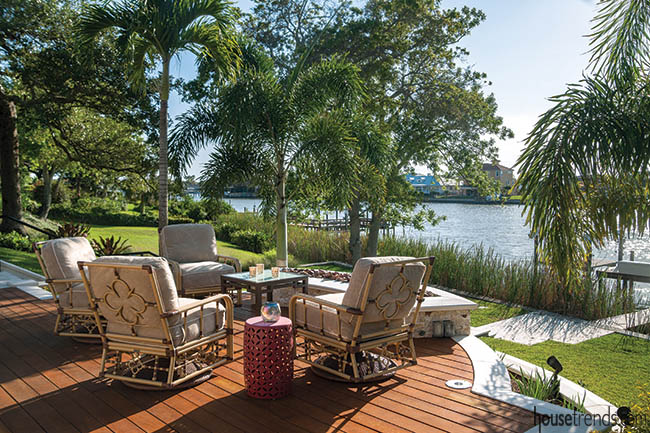 Outdoor seating area with a water view