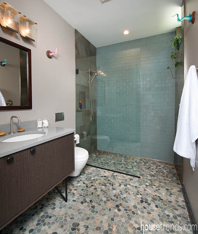 Bathroom tile lends a pop of personality