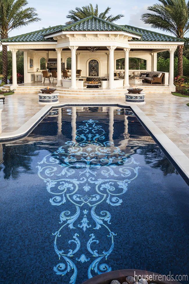 Mosaic tile dresses up a swimming pool