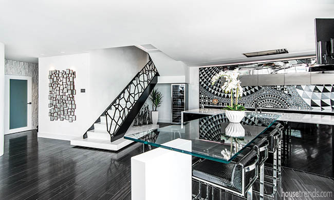 Staircase with a custom railing