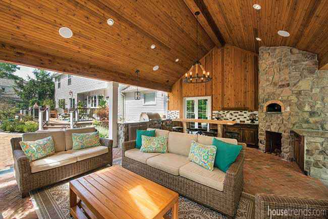 Cozy furniture in a covered outdoor entertaining space