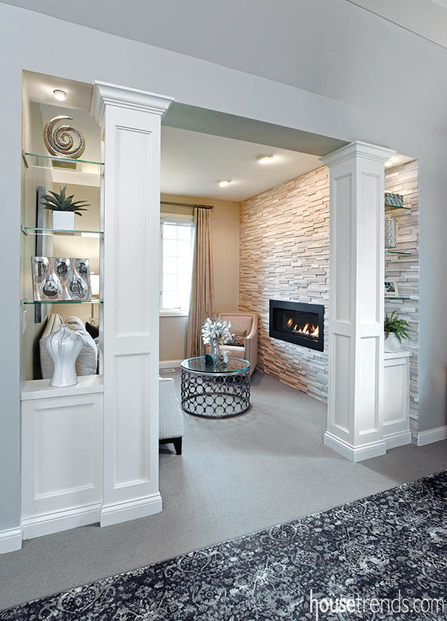 Tile gives bedroom fireplace a modern look