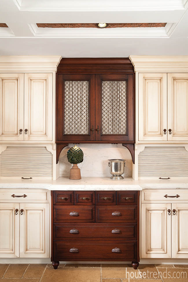 Two-toned cabinetry pops in a kitchen design