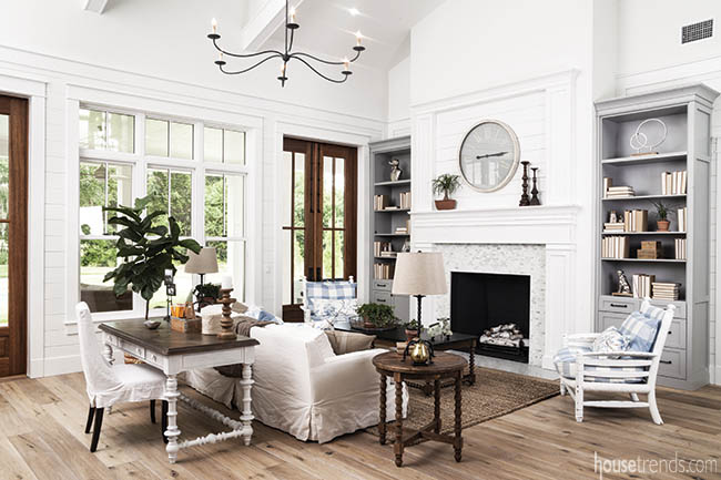 Fireplace serves as focal point in formal living room