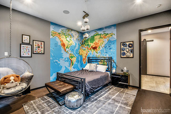 World map decorates a bedroom