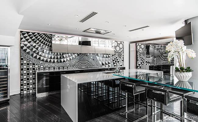 Kitchen design features a tile mosaic