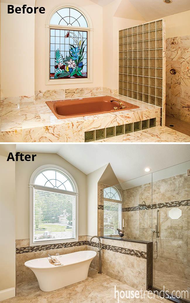 Porcelain tile dresses up a master bath