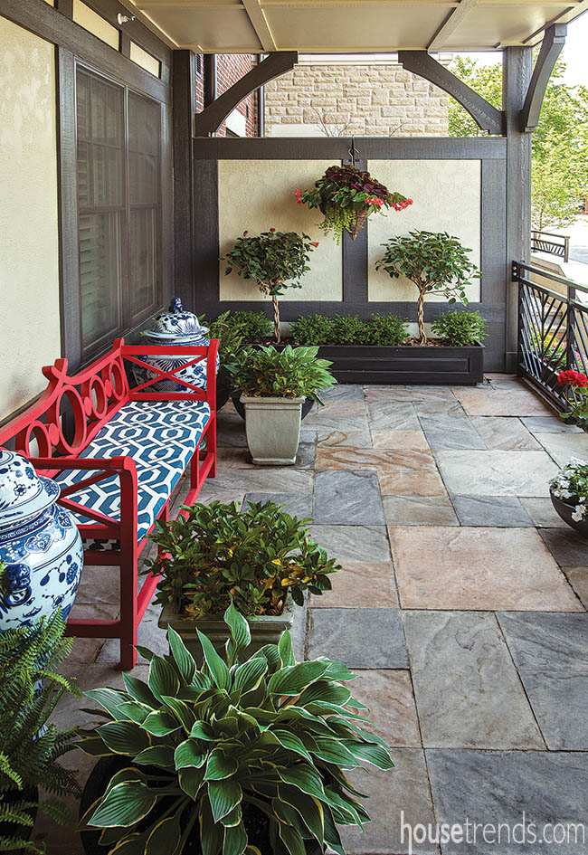 Potted plants dress up a front patio