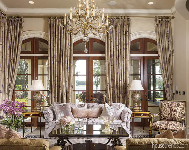 Silk drapes complement a formal living room