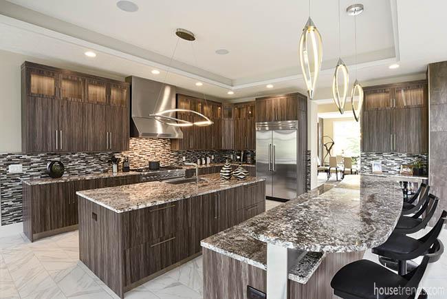 Kitchen cabinets boast a little texture
