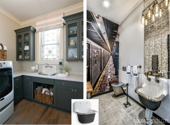 Two rooms feature same sink