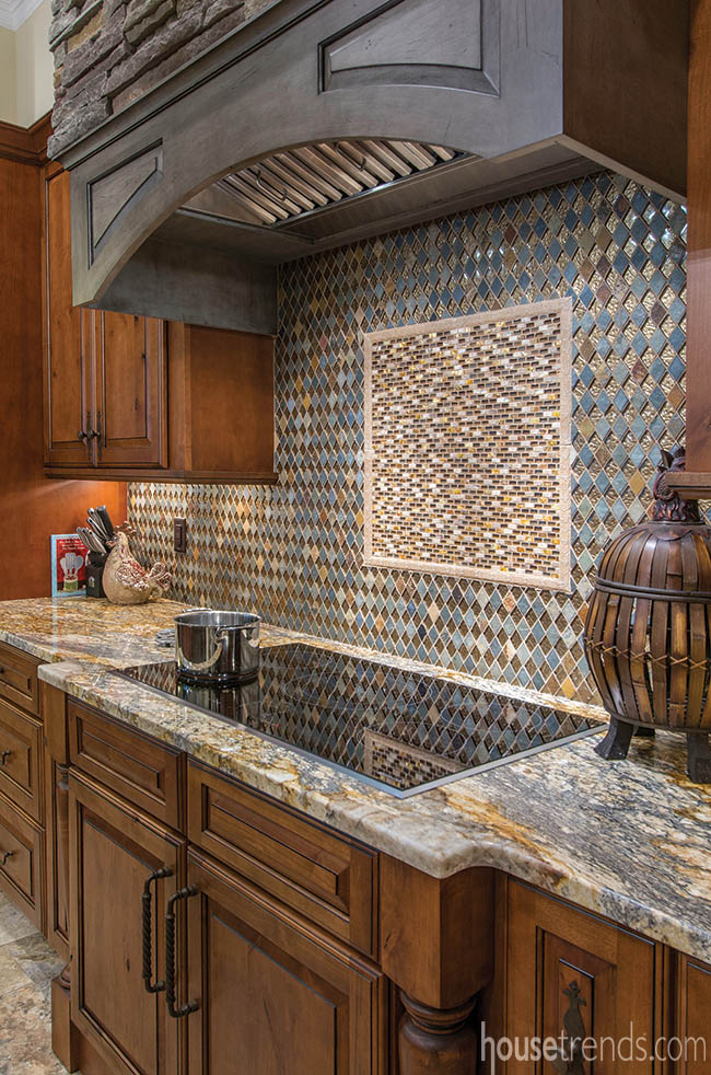 Kitchen backsplash is made of a mix of materials