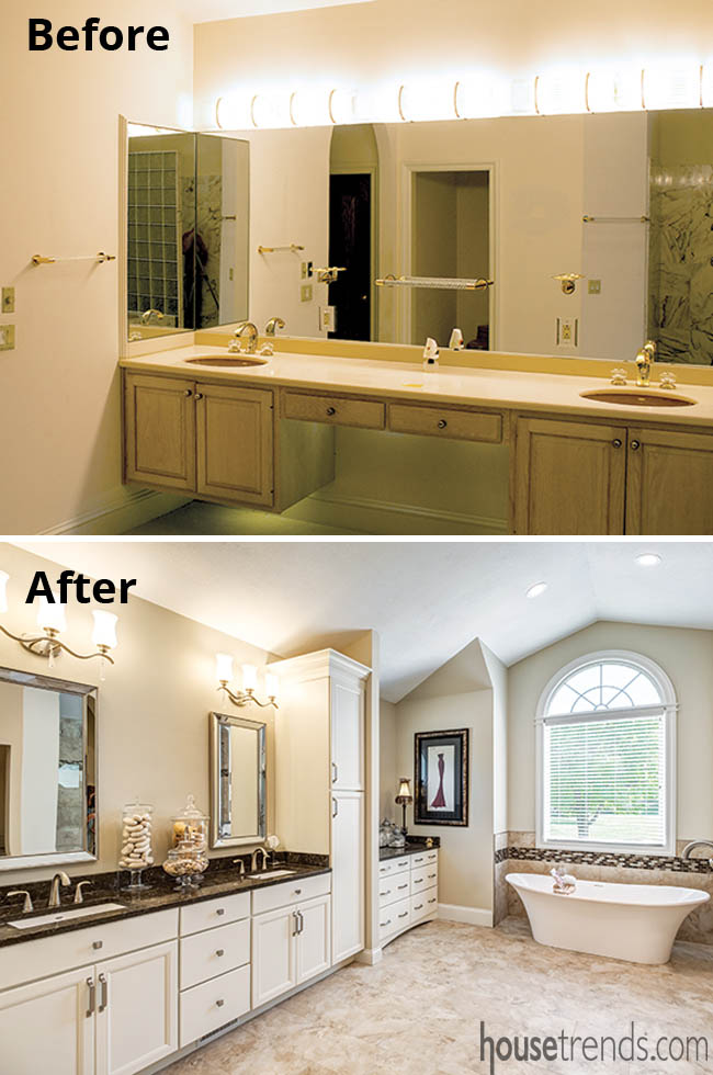 Bathroom remodel replaces outdated pink tub