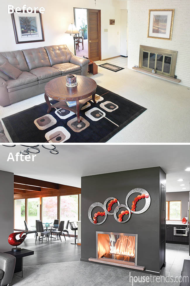 Outdated fireplace gets a new look