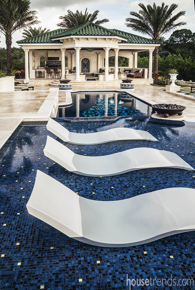 Gold tile sparkles in a swimming pool