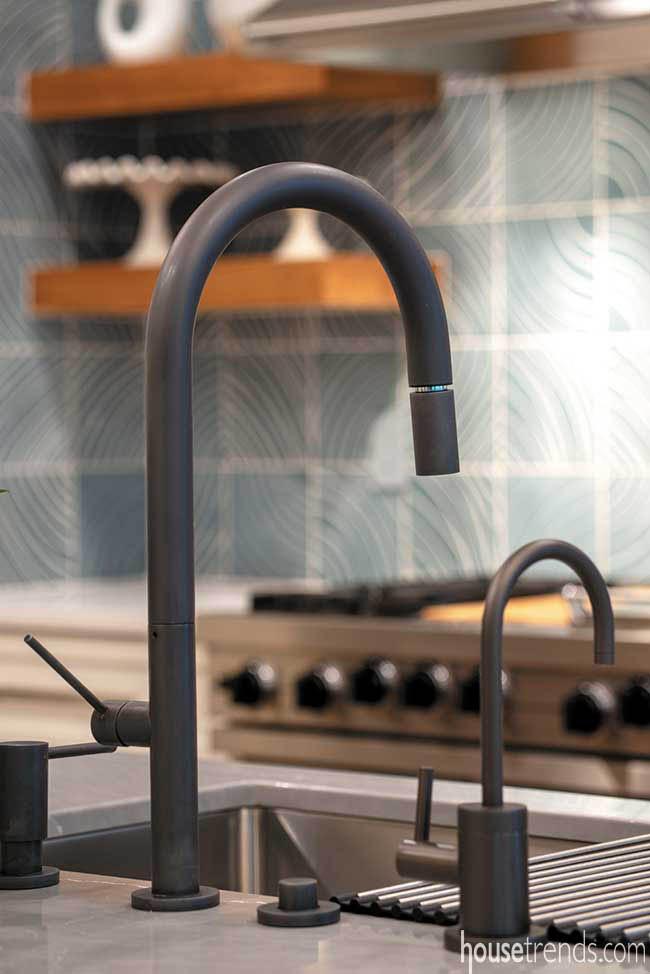 Kitchen boasts matte black accessories
