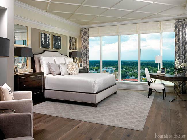Master bedroom boasts wide plank flooring
