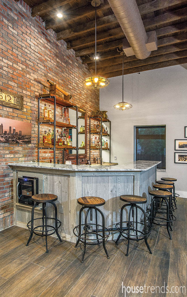 Bar crafted of reclaimed materials