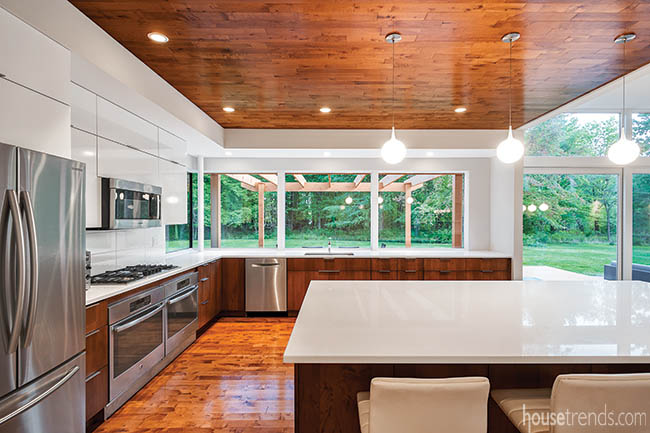 Ceiling treatment distinguishes two spaces