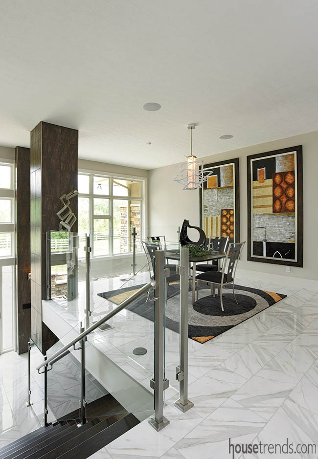 Custom rug complements wall art