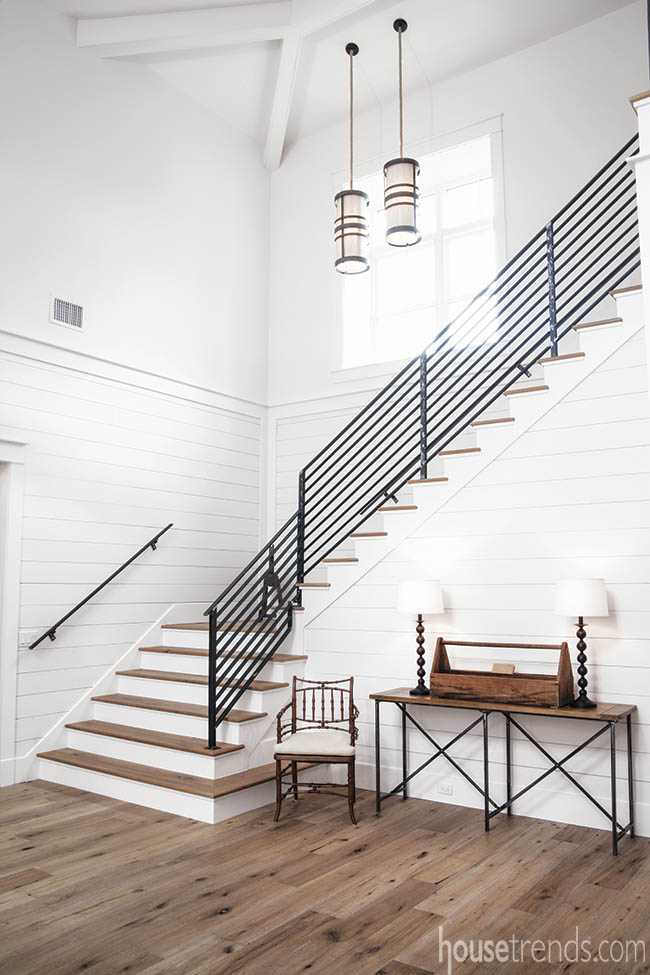Shiplap travels up a staircase