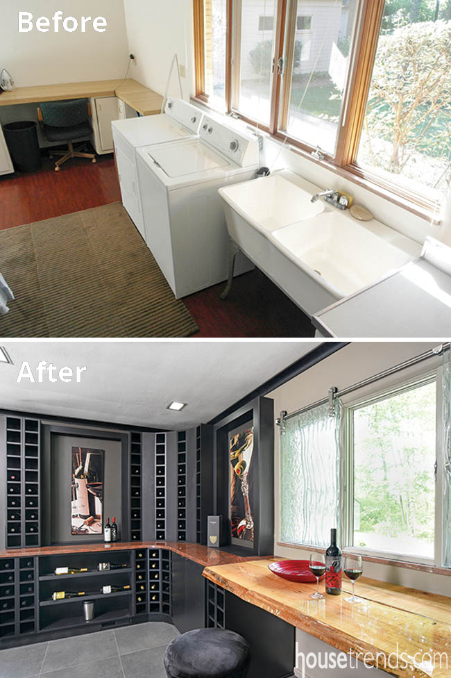 Laundry room remodel includes wine storage