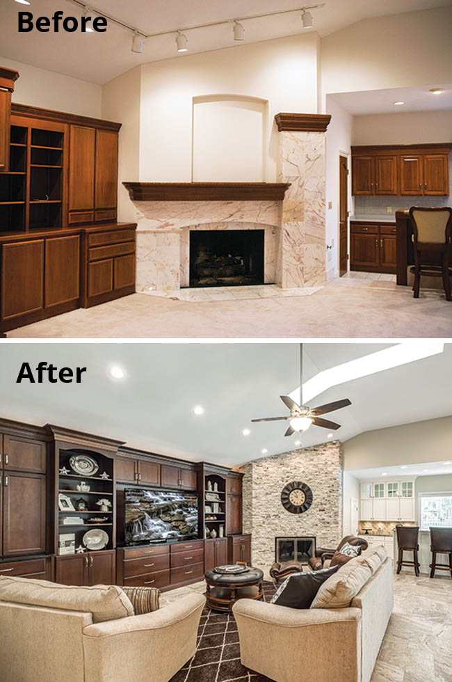 Stone fireplace lends cozy feel to a family room