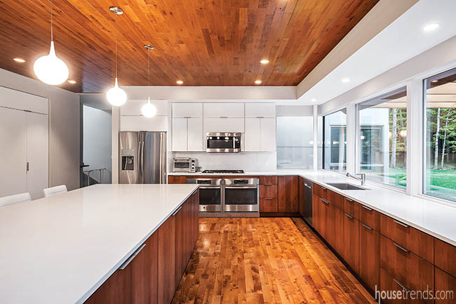 Ceiling treatment adds color to a kitchen